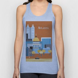 Atlanta, Georgia - Skyline Illustration by Loose Petals Unisex Tank Top