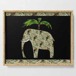 Elephant under a palm tree . Serving Tray