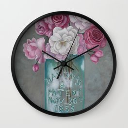 Antique Mason Jar Number 6 1858 with Pink Roses Wall Clock