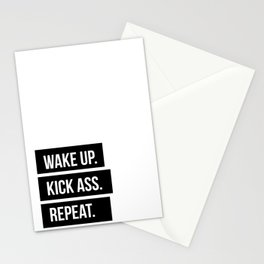 Wake up Kick ass Repeat Stationery Cards