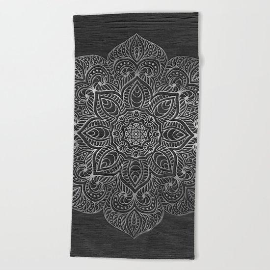 Wood Mandala - Silver Beach Towel