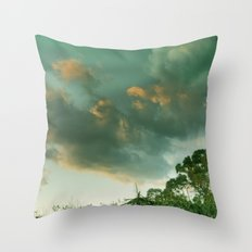 Windy sunset. Vintage Throw Pillow