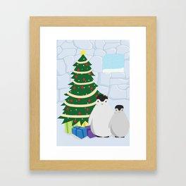 Penguins on Christmas Morning Framed Art Print