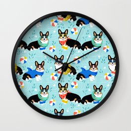 Corgi tri colored corgis pool party dog breed cute custom pet portrait by pet friendly Wall Clock