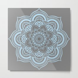 Mandala Flower Gray & Baby Blue Metal Print