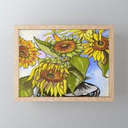 Sunflowers in a Black Vase by Amanda Martinson Framed Mini Art Print