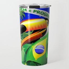 Toco Toucan with Brazil Flag Travel Mug