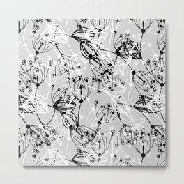 Summer grass , gray ,  black , white Metal Print