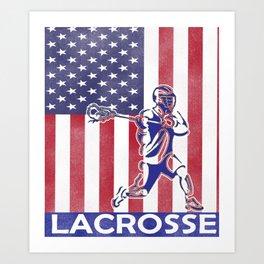 US Lacrosse American Lacrosse Flag Design Art Print