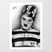 chaplin Art Prints featuring Chaplin by D.E.Pérez