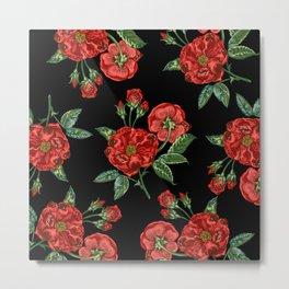 Roses Are Pugs Metal Print