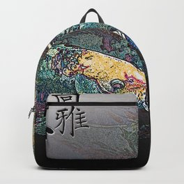 Koi Fish Calligraphy Digital Painting Backpack