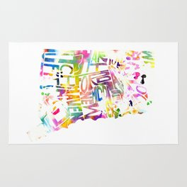 Typographic Connecticut - multi rainbow watercolor map Rug