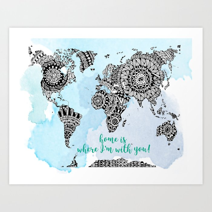World Map Print - Adventurer Gift - Travel Art - World Map Poster Art Print  by bananapancakesinc