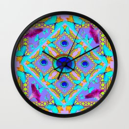 Purple Fantasy Turquoise Butterflies Morning Glories art Wall Clock