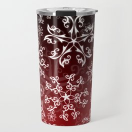 Symbols in Snowflakes on Holly Berry Travel Mug