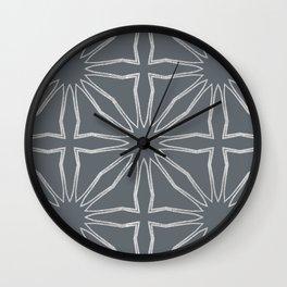 Silver Modern Moroccan criss cross Wall Clock