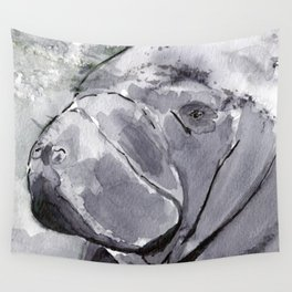 Manatee - Animal Series in Ink Wall Tapestry