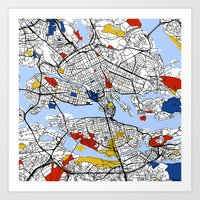 stockholm Art Prints featuring Stockholm by Mondrian Maps