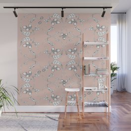 Acorns and ladybugs pink pattern Wall Mural