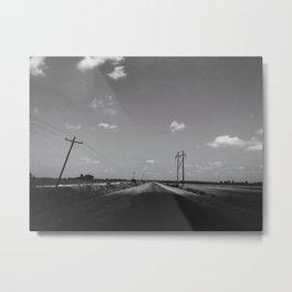Mississippi Delta Back Road (Black & White) Metal Print