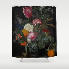 """Maria van Oosterwijck """"Roses, a parrot tulip, carnations, ears of wheat, hyacinths and other flowers Shower Curtain"""