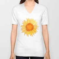 sunflowers V-neck T-shirts featuring Sunflowers by Sara Eshak