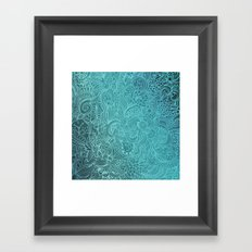 Detailed zentangle square, blue colorway Framed Art Print