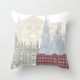 Santiago de Compostela skyline poster Throw Pillow