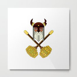 Golden Viking Minimal Art Metal Print