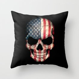 American Flag Skull on Black Throw Pillow
