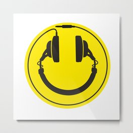 Headphones smiley wire plug Metal Print