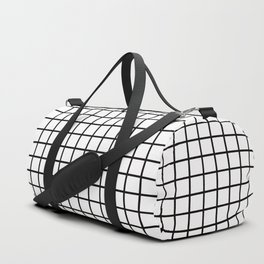 Simply Minimalistic Grid Line Pattern - Black & White - Mix & Match  with Simplicity of Life Duffle Bag