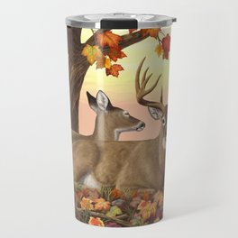 Whitetail Deer Doe & Trophy Buck Maple Trees Fall Colors Travel Mug