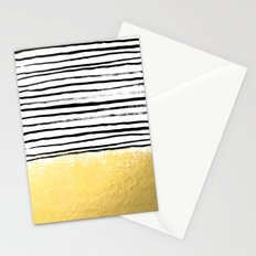 Blaire - Brushed Gold Stripes - black and gold, gold trend, gold phone case, gold cell case Stationery Cards