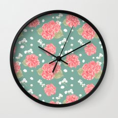 Sweet Carnation Flower Seamless Pattern Wall Clock