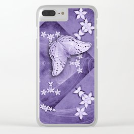 Flowers and butterfly with swirling fractal Clear iPhone Case