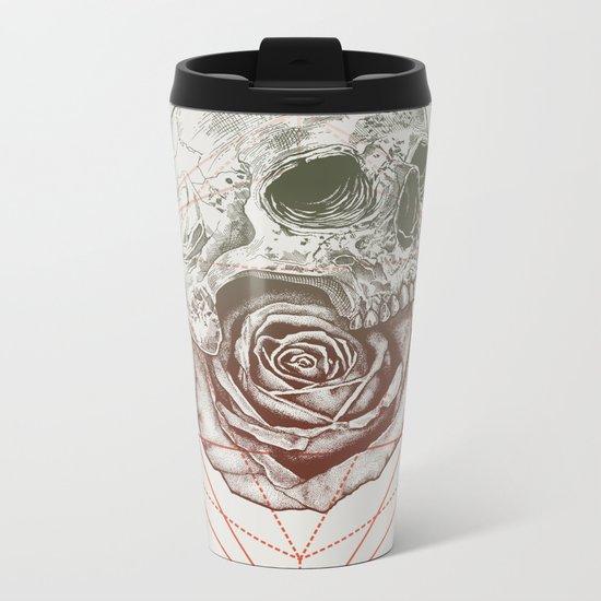 Skull Rose Geo Metal Travel Mug