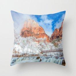 Photos Zion National Park USA Nature Winter Bridges mountain Waterfalls Parks bridge Mountains park Throw Pillow