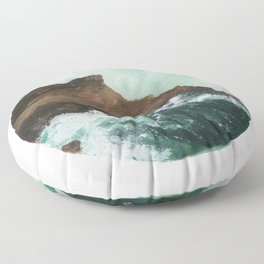 Crashing Waves on a cliff Floor Pillow