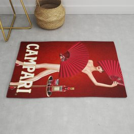 Classic Red Campari Girl with Fans Alcoholic Aperitif Vintage Advertising Poster Rug