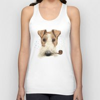 terrier Tank Tops featuring fox terrier sailor by dogooder