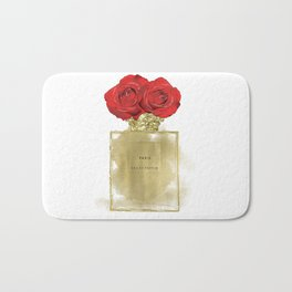 Red Roses & Fashion Perfume Bottle Bath Mat