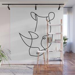 rhino one line - menace Wall Mural