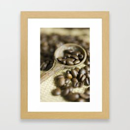 Old coffee beans spoon Framed Art Print