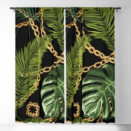 Tropical vintage Baroque pattern with golden chains, palm leaves, baroque elments on dark background. Classical luxury damask hand drawn illustration pattern. Blackout Curtain
