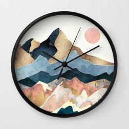 Golden Peaks Wall Clock