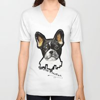 french bulldog V-neck T-shirts featuring French Bulldog by Det Tidkun