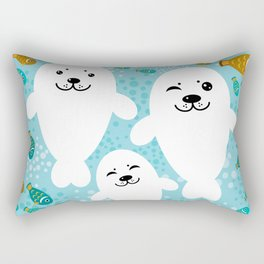 happy family of white seals and fish on a blue background. Rectangular Pillow
