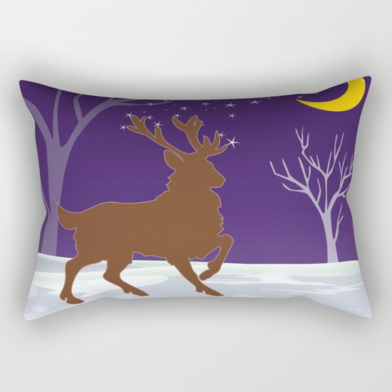 Deer on the ice Rectangular Pillow